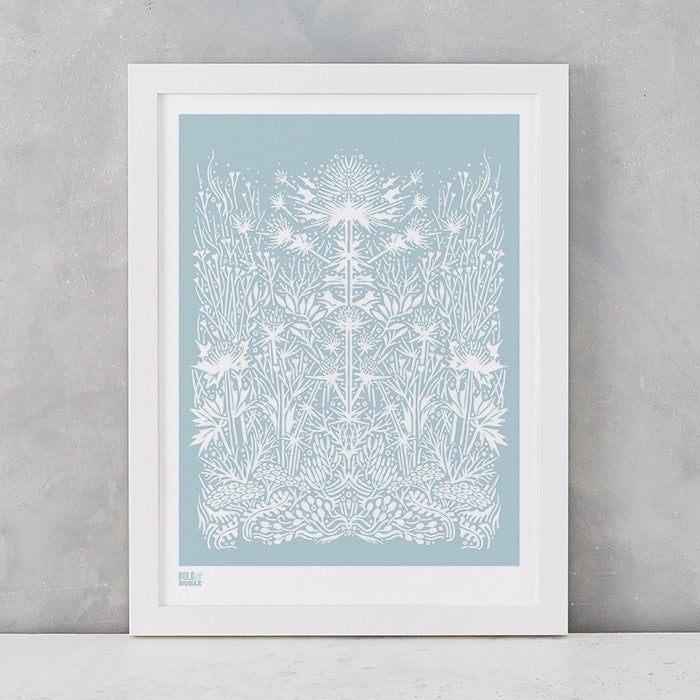 'Sea Holly' Art Print in Duck Egg Blue
