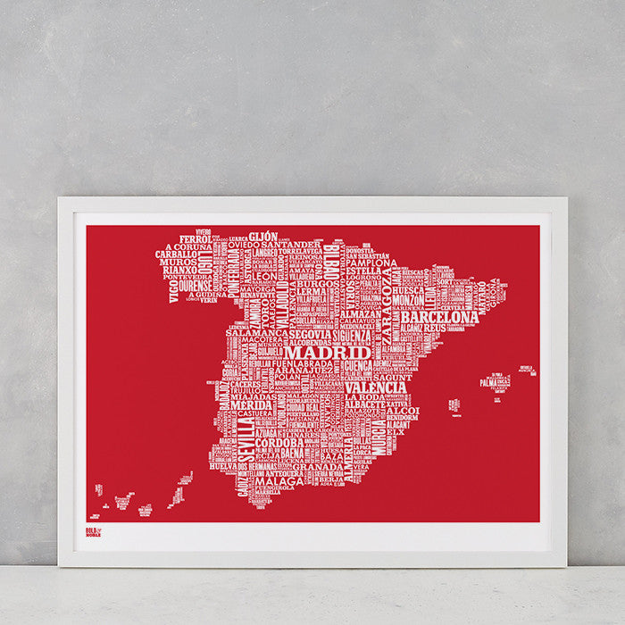 'Spain' Type Map Print in Poppy Red