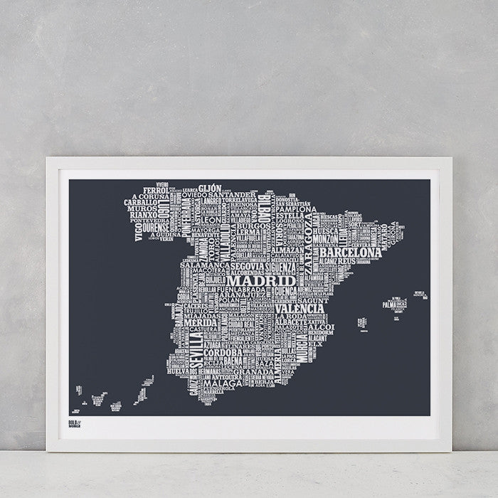 'Spain' Type Map Print in Sheer Slate