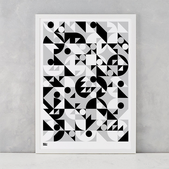 'Stronger' Geometric Art Print in Monochrome