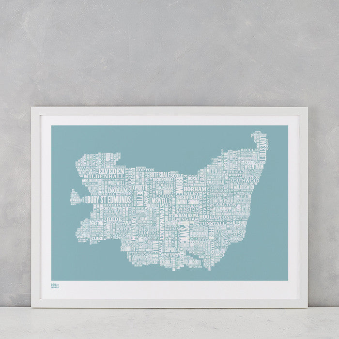 'Suffolk' Type Map Print in Coastal Blue