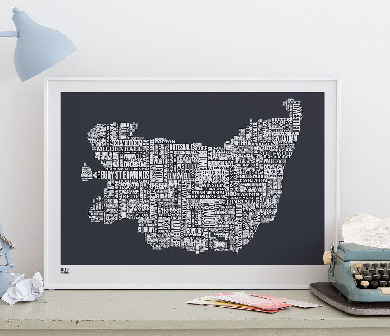 'Suffolk' Type Map Print in Sheer Slate
