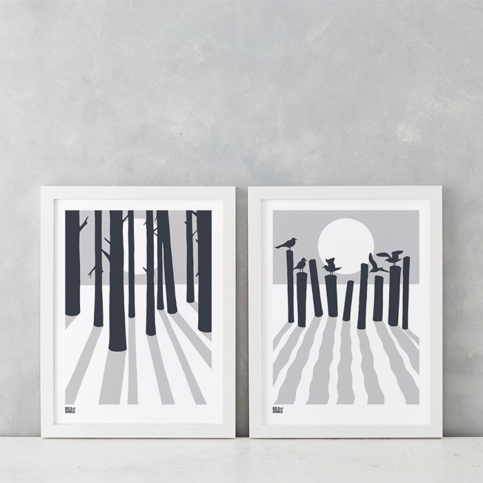 'Beach and Woods' Set of 2 in Chalk Grey