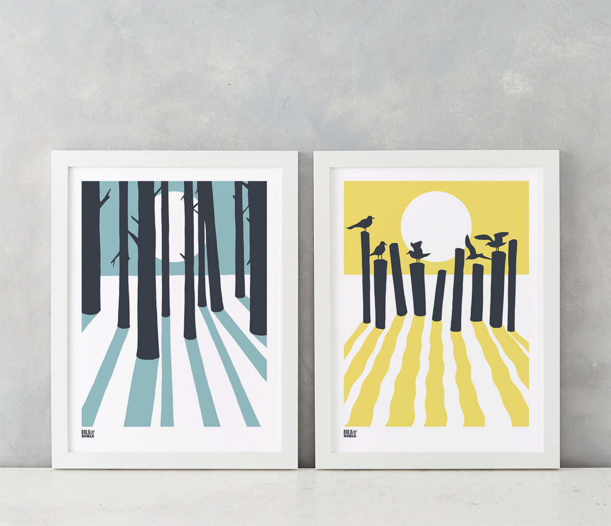 Wall art ideas, In the Woods and On the Beach prints, printed in the UK delivered worldwide