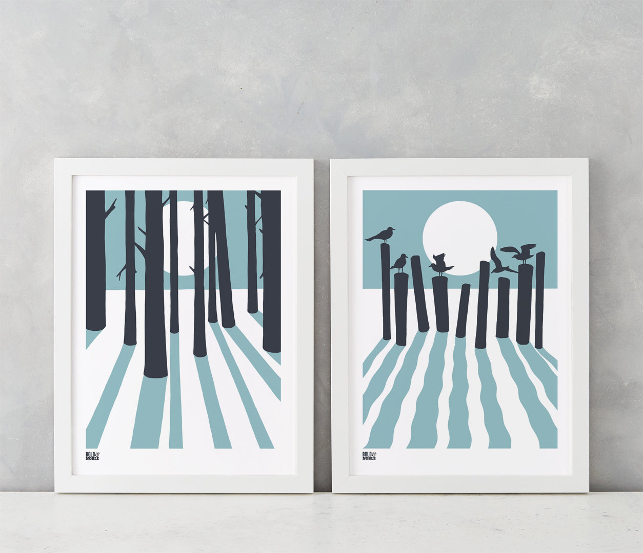 Wall art ideas, economical screen prints, On the Beach and In the Woods artwork in blue and grey