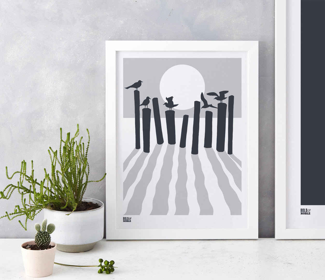 On The Beach in Chalk Grey, fits into standard size frames or can be bespoke framed