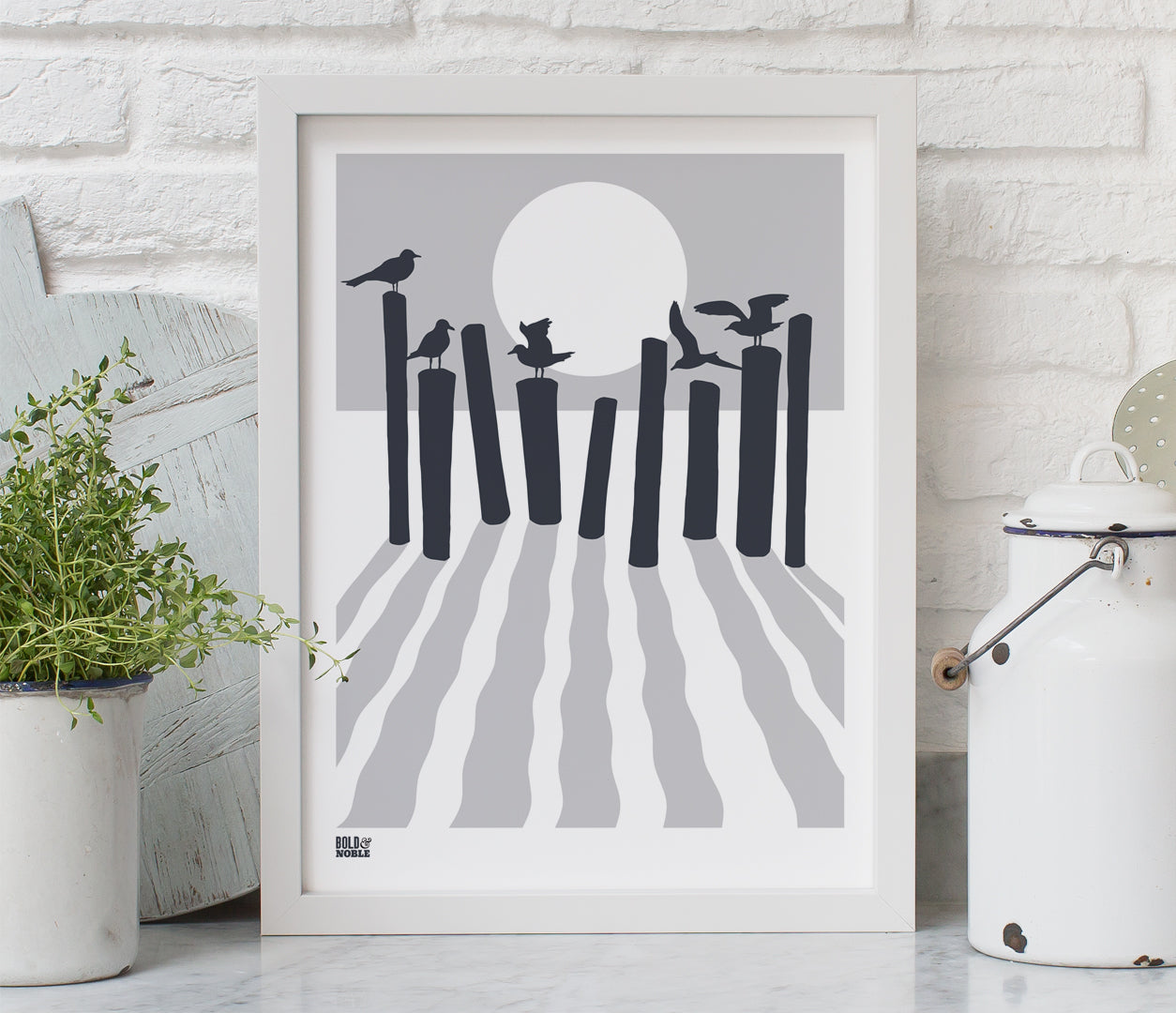 On The Beach in Chalk Grey, Printed Seaside and Sunset Wall Art