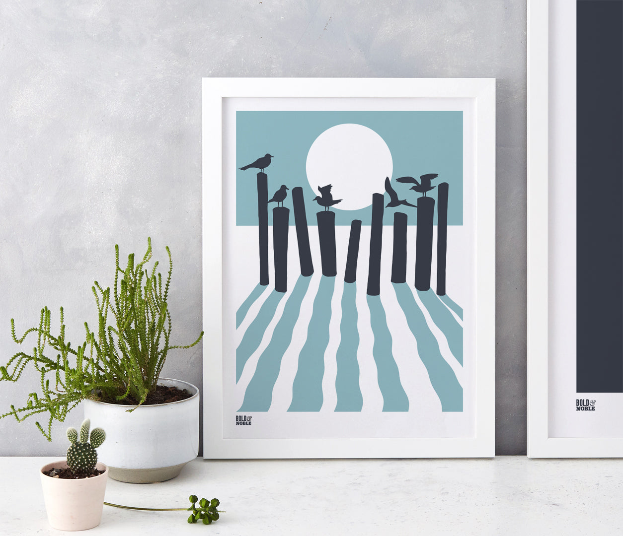 On The Beach in Coastal Blue, fits into standard size frames or can be bespoke framed