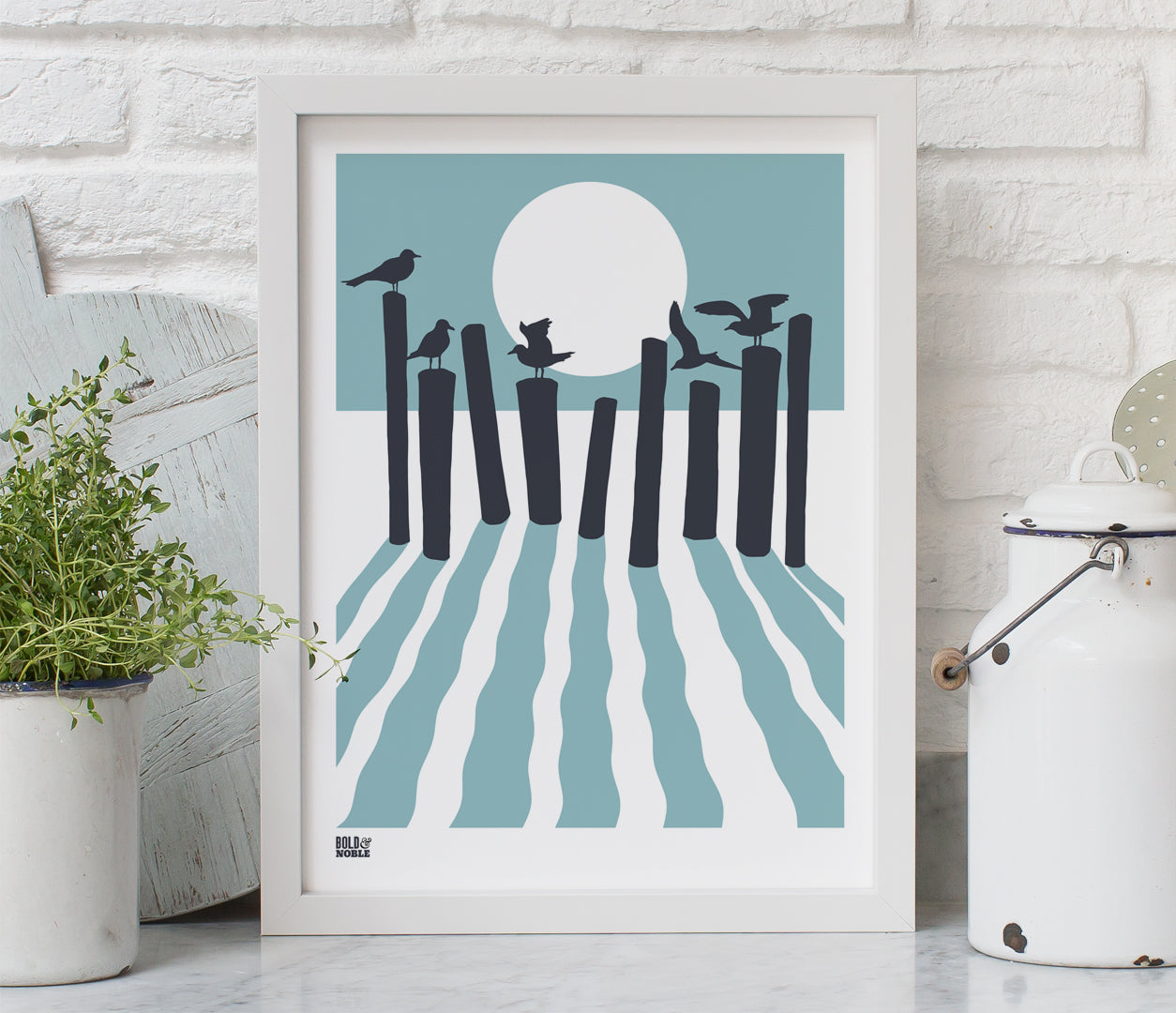 On the beach, sunset silhouette screen print in coastal blue and dark grey, hand screen printed in the UK