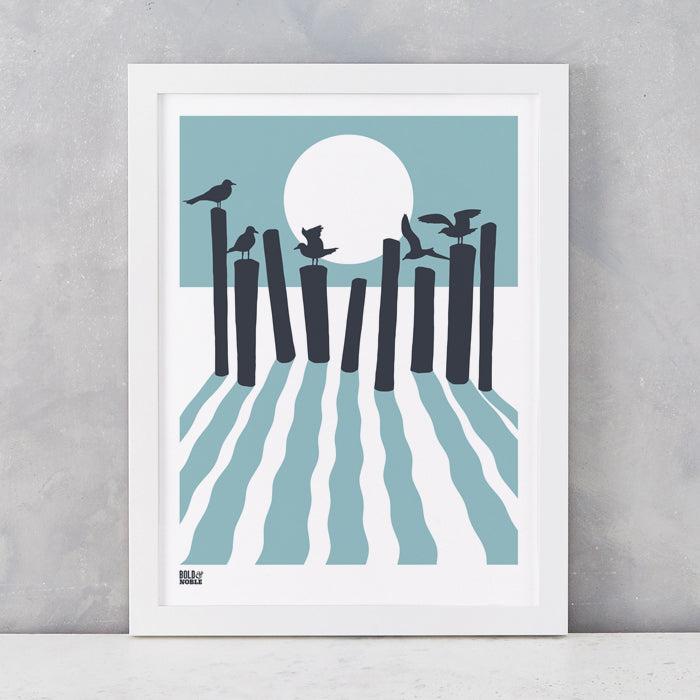 On The Beach in Coastal Blue, screen printed onto recycled card, deliver worldwide