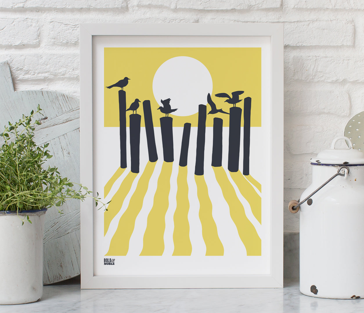 On The Beach in Yellow, Printed Seaside and Sunset Wall Art
