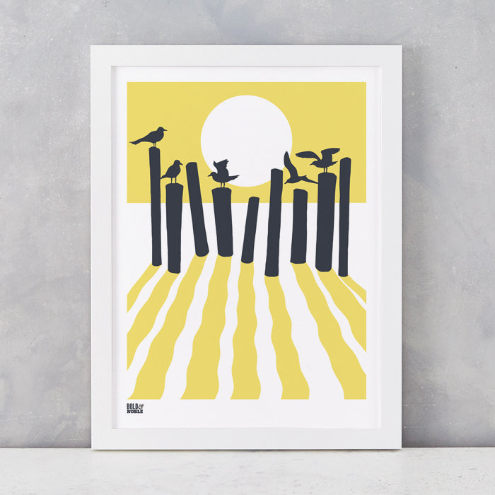 On The Beach in Yellow, screen printed onto recycled card, deliver worldwide