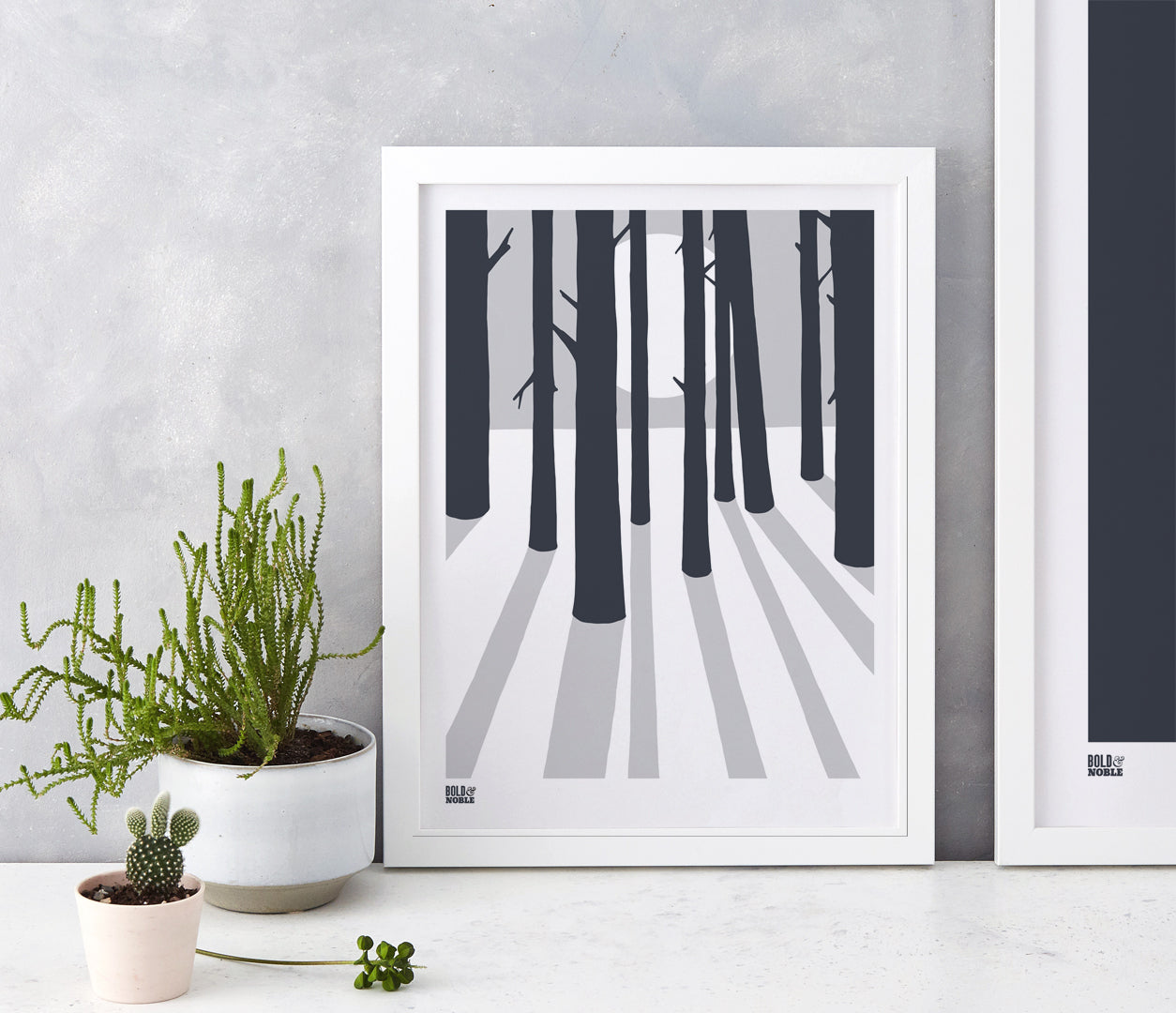 Wall Art ideas: Economical Screen Prints, In the Woods screen print in chalk grey