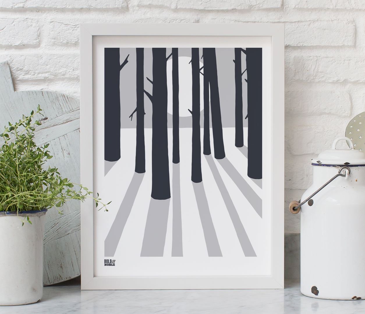 'In The Woods' Art Print in Chalk Grey
