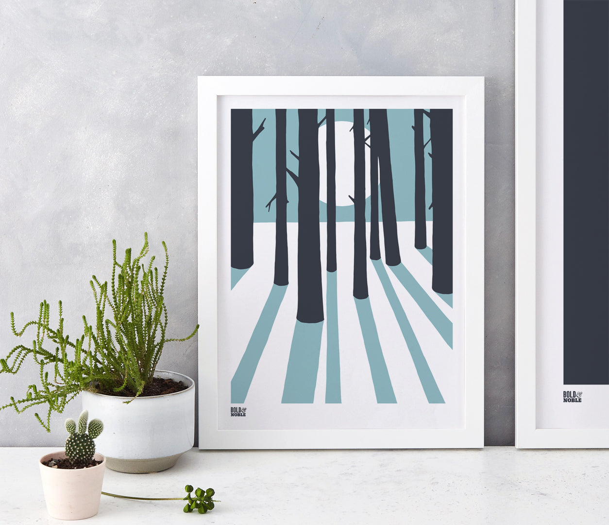 In the Woods, moonlit silhouette screen print in coastal blue and dark grey, hand screen printed in the UK