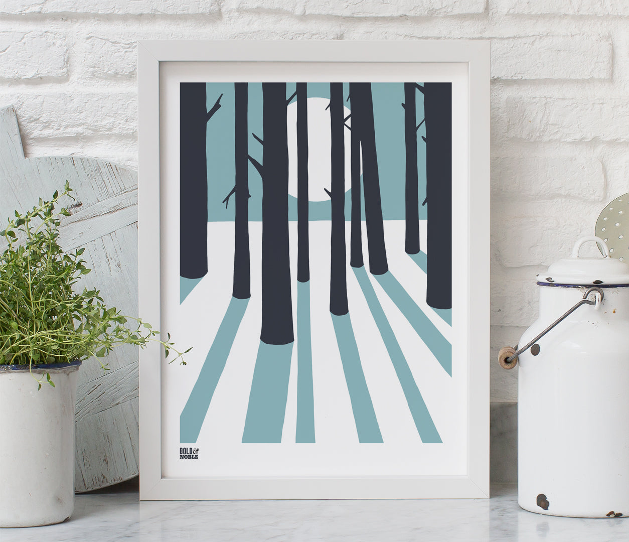 Pictures and Wall Art, Screen Printed In the Woods in Coastal Blue
