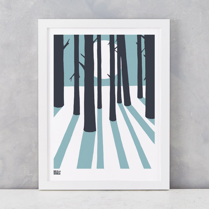 In the Woods screen print in Coastal Blue, screen printed in the UK, delivered worldwide
