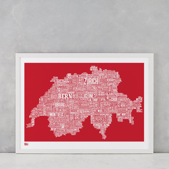 'Switzerland' Type Map Print in Poppy Red