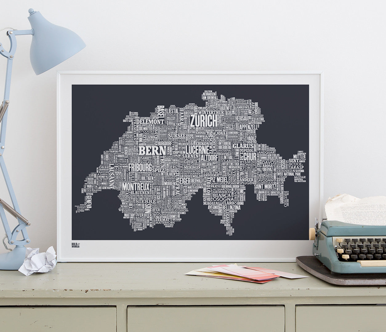'Switzerland' Type Map Print in Sheer Slate