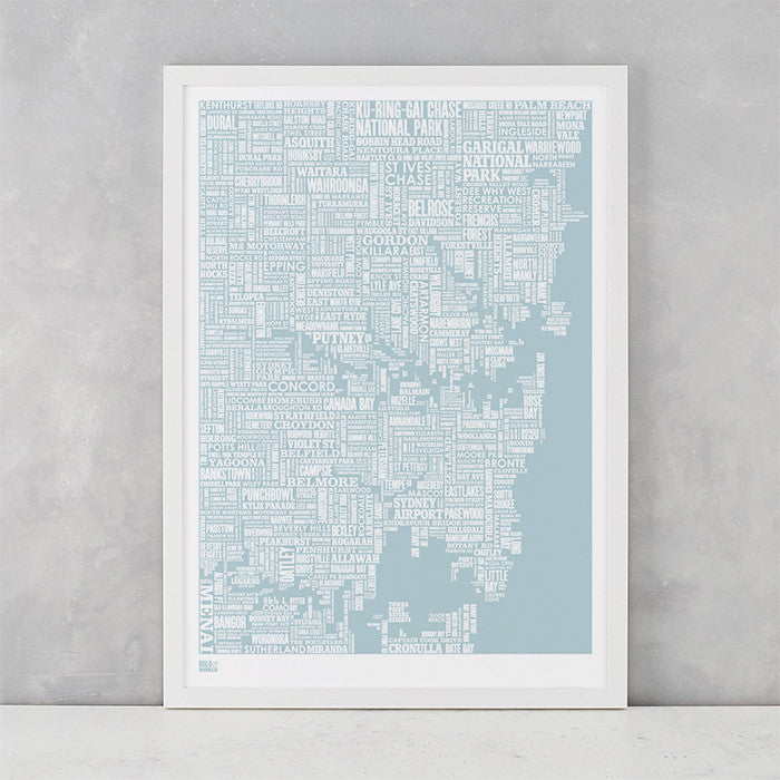 'Sydney' Type Map Print in Duck Egg Blue