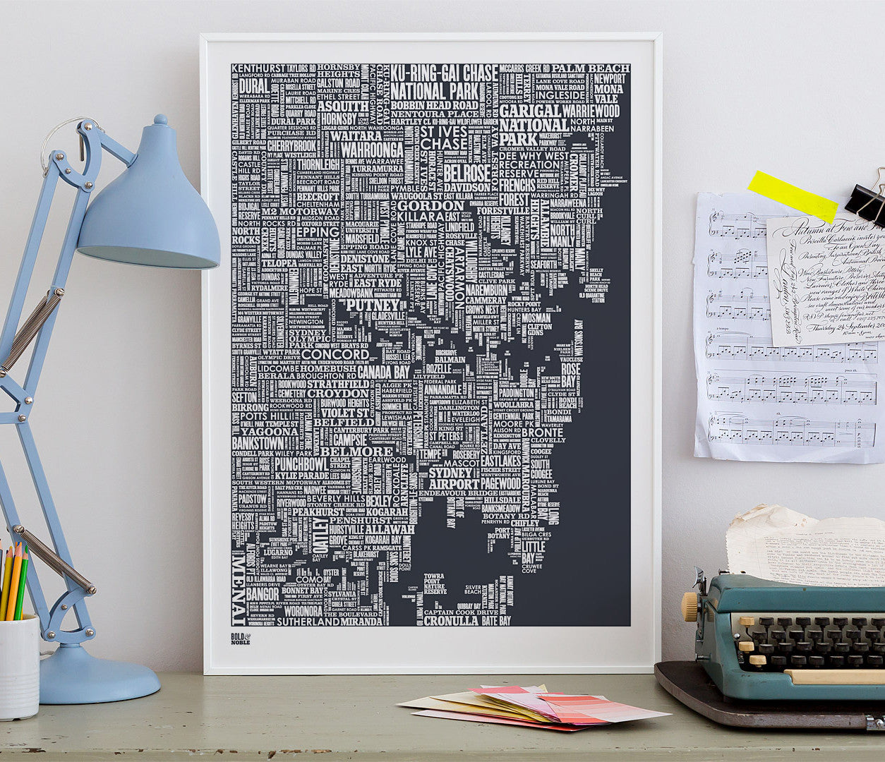 'Sydney' Type Map Print in Sheer Slate