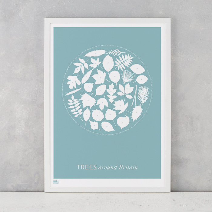 'Trees Around Britain' Art Print in Coastal Blue