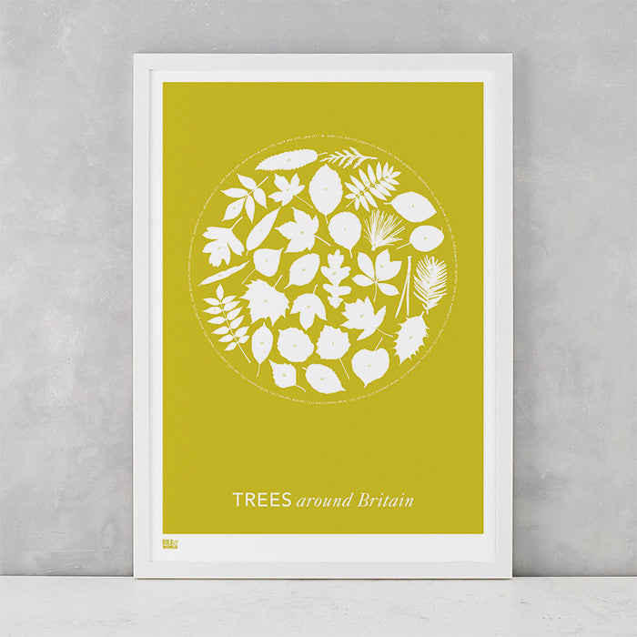 'Trees Around Britain' Art Print in Yellow Moss