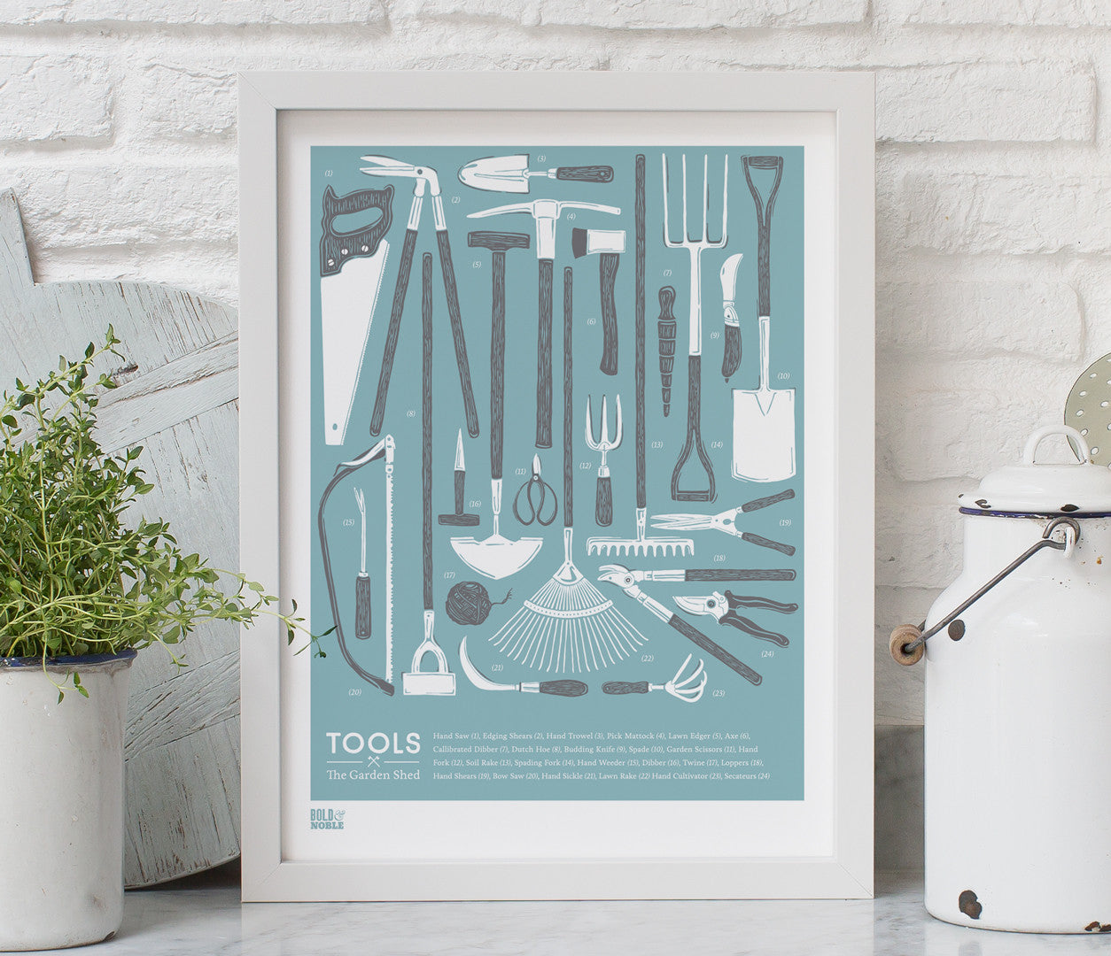 'Tools' The Garden Shed Print in Coastal Blue