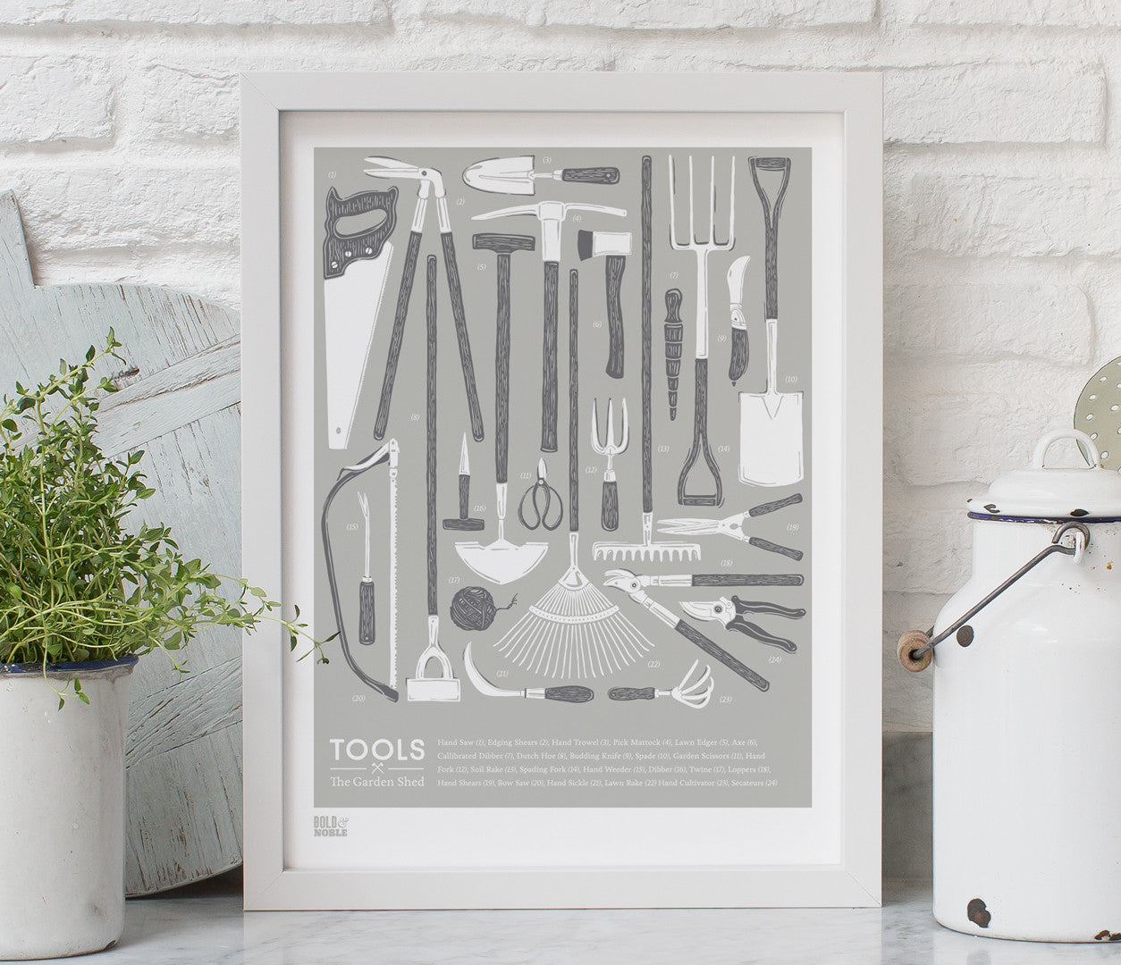 Tools Garden Shed Print Design in Putty Grey
