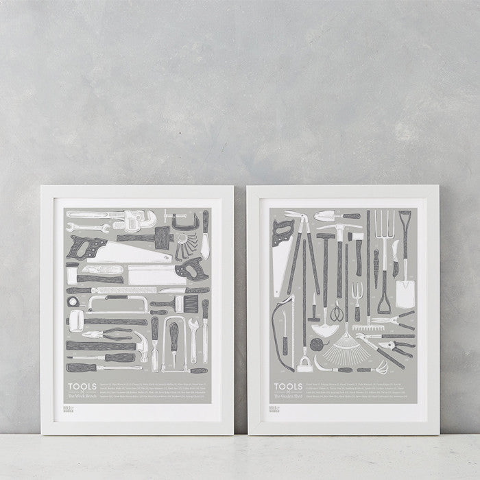 Tools Set of 2 Wall Art, Screen Printed in the UK, deliver Worldwide