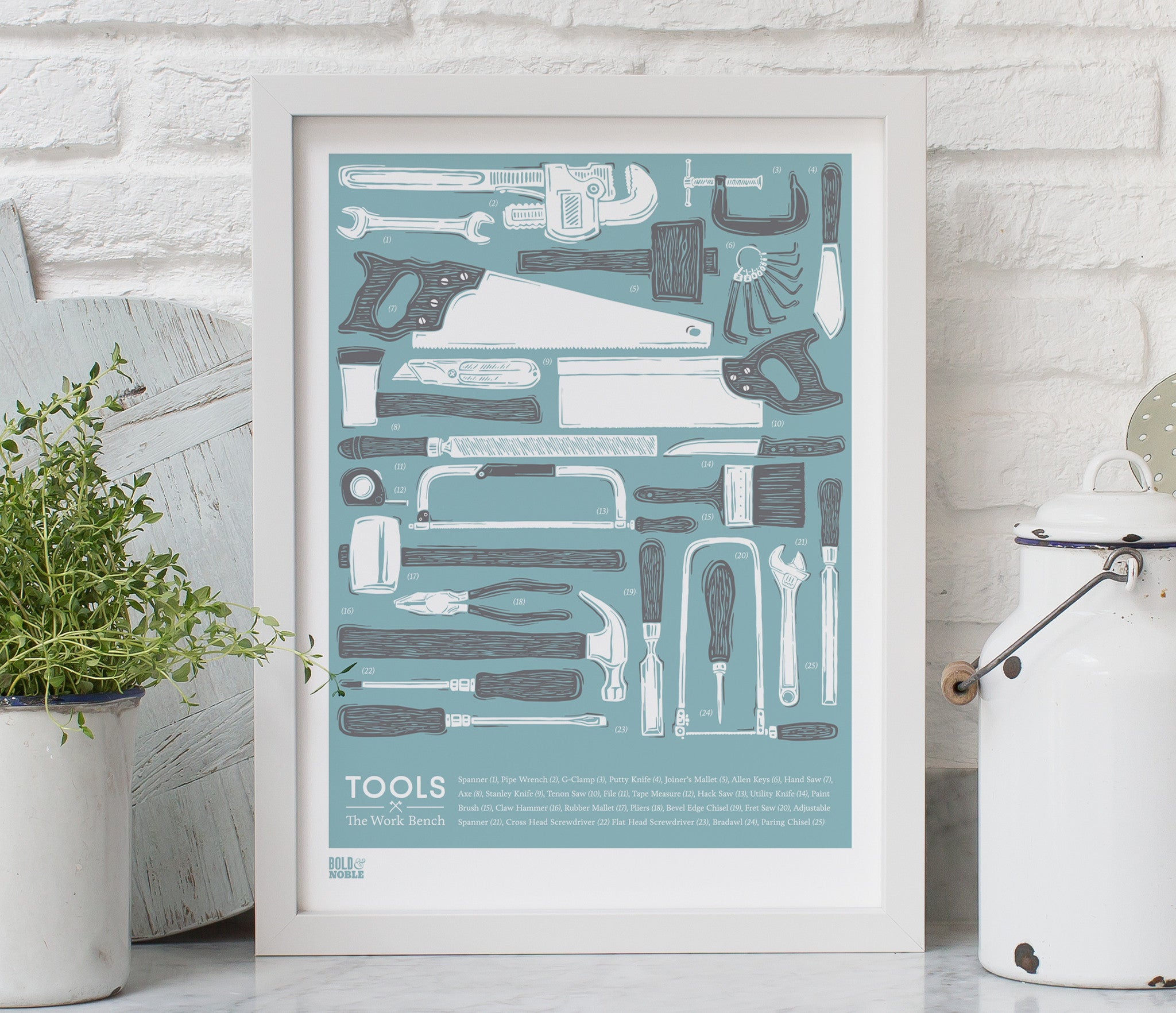 'Tools' set of 2 Prints in Coastal Blue