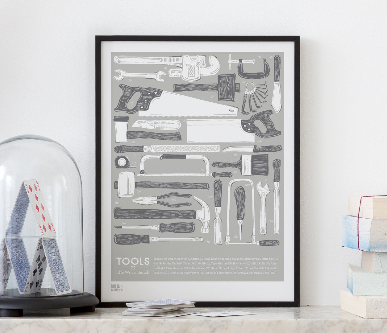Tools Work Bench Art Print in Putty Grey
