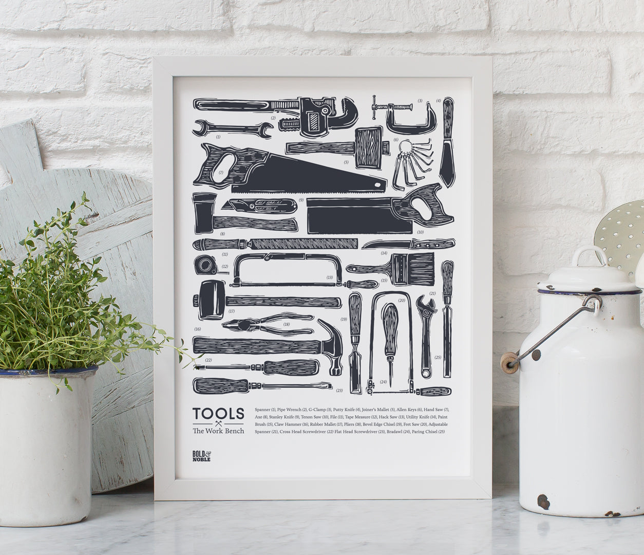 'Tools' set of 2 Prints in Sheer Slate