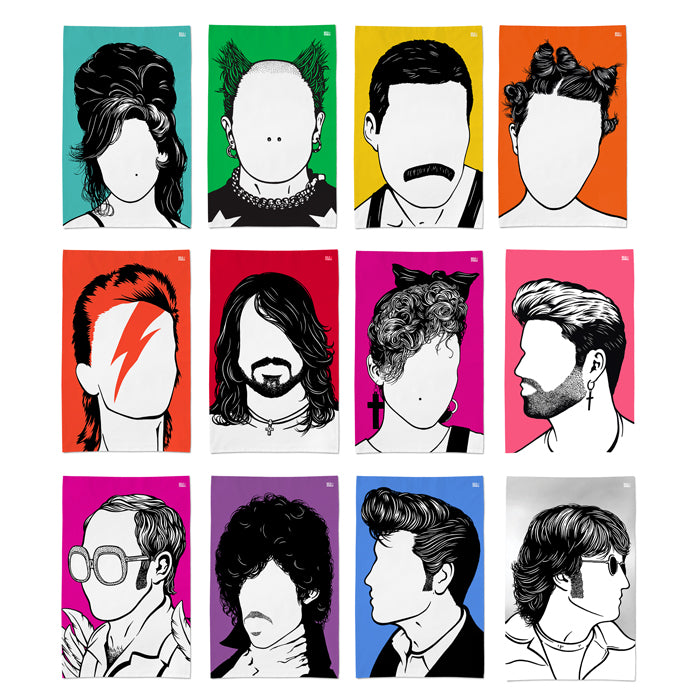 12 x 'Rock and Pop Icons' Tea Towel Set