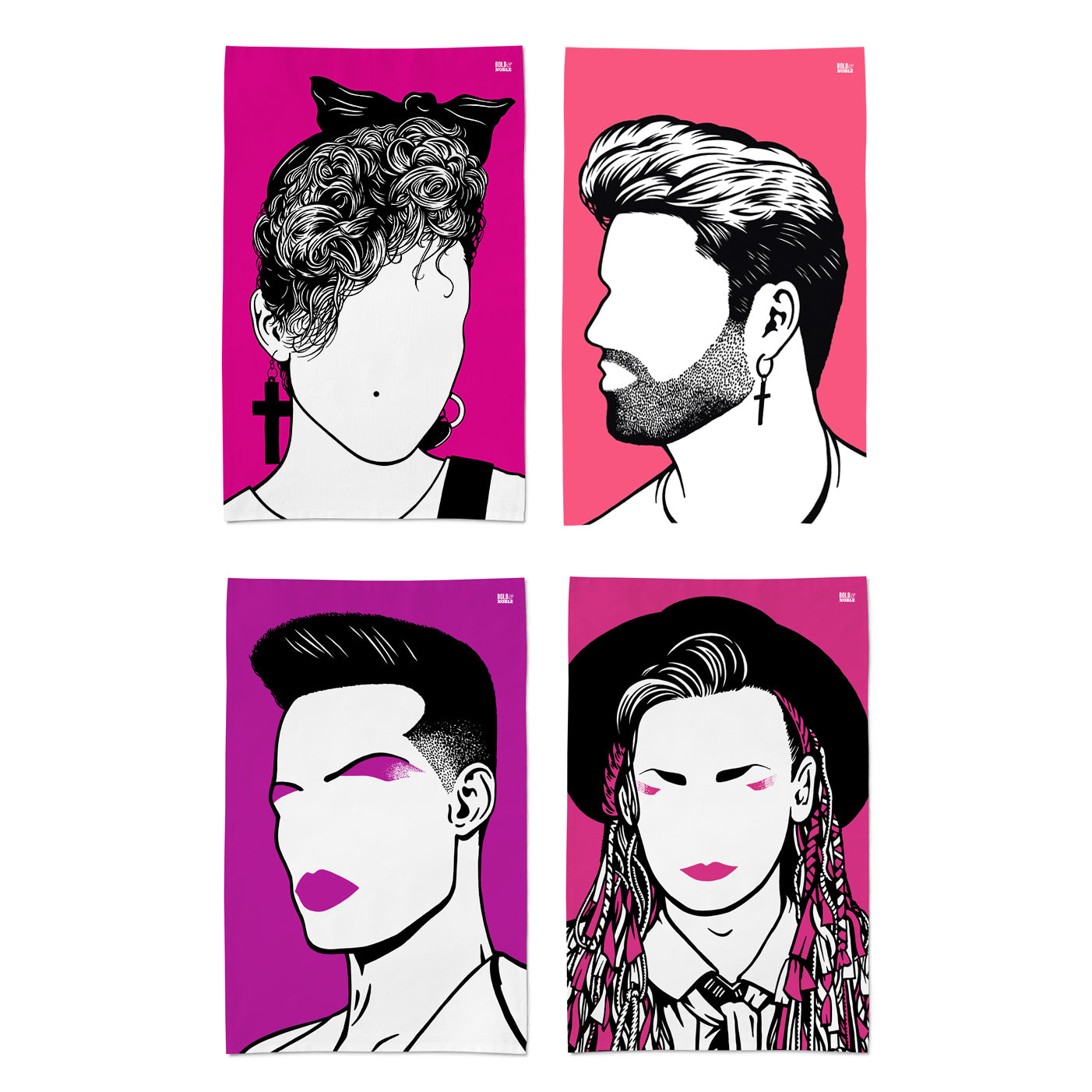 'George Michael, Madonna, Boy George and Grace Jones' Tea Towel Set
