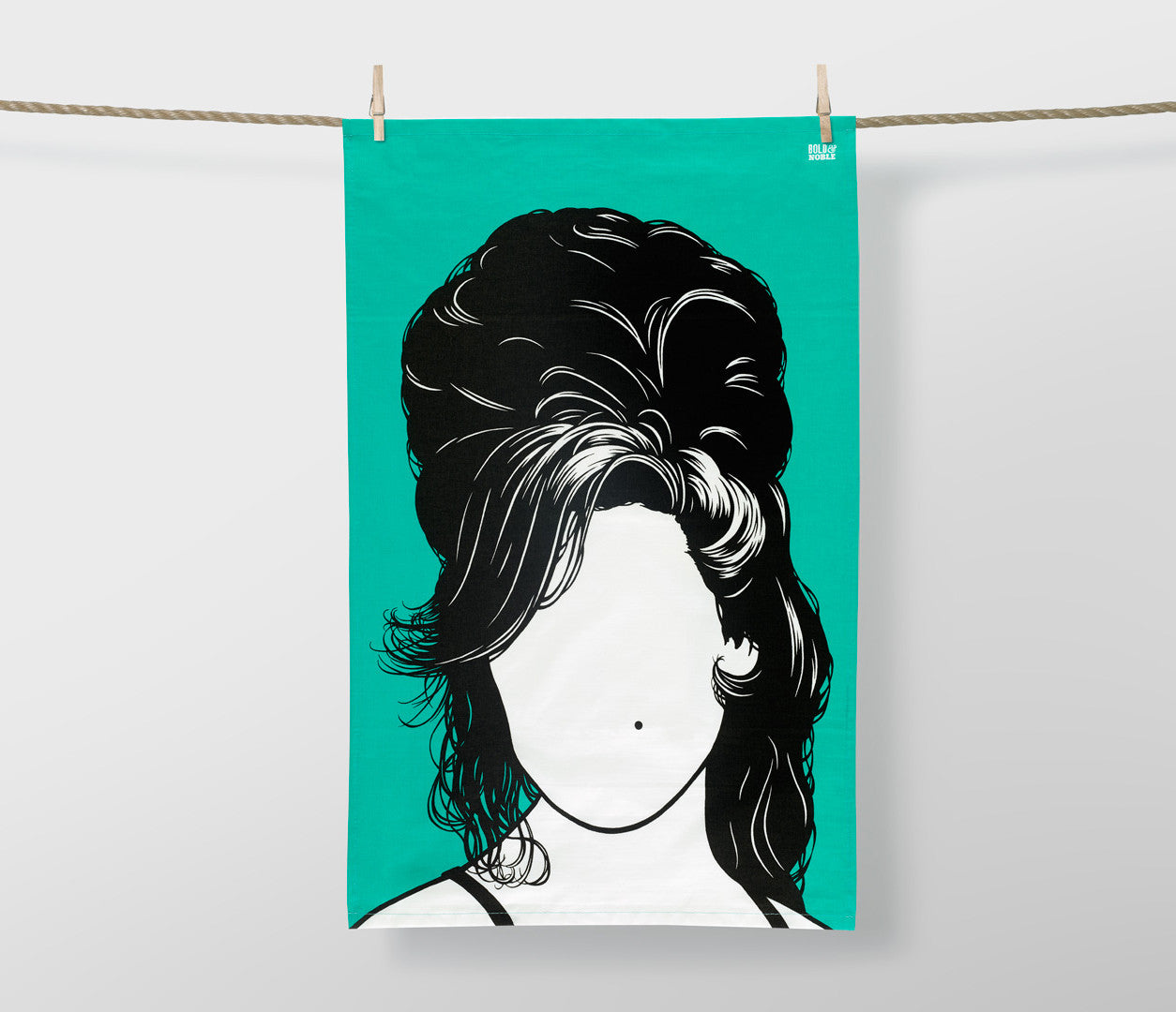 Amy Winehouse Tea Towel, in Jade Green, Gift Tea Towel