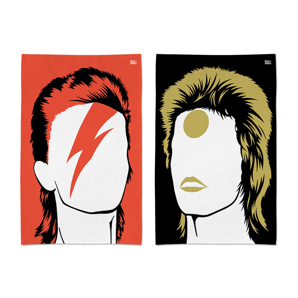 'David Bowie- Aladdin Sane & Ziggy Stardust' Tea Towel Set