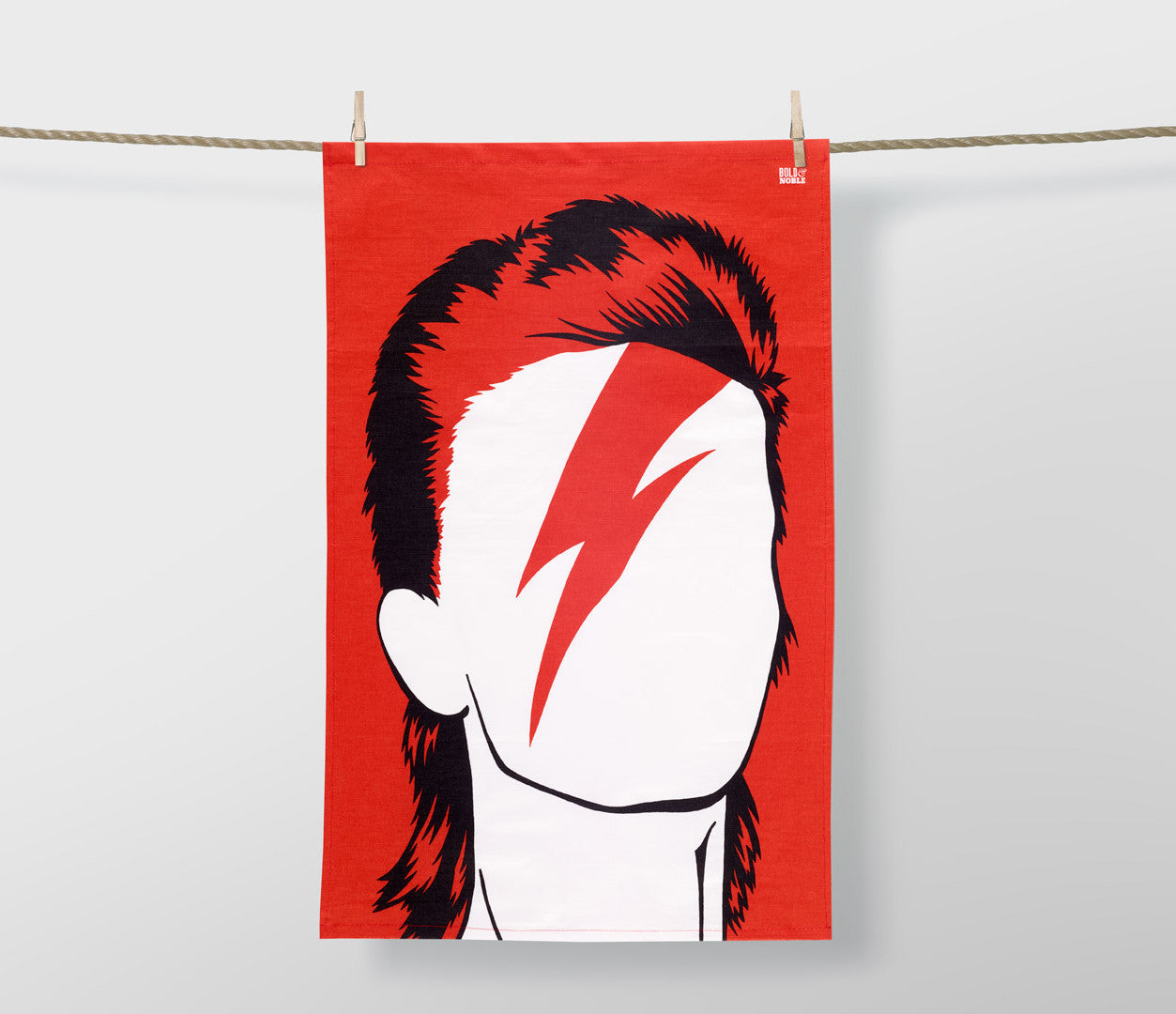 David Bowie Tea Towel in Dark Orange, screen printed in the UK