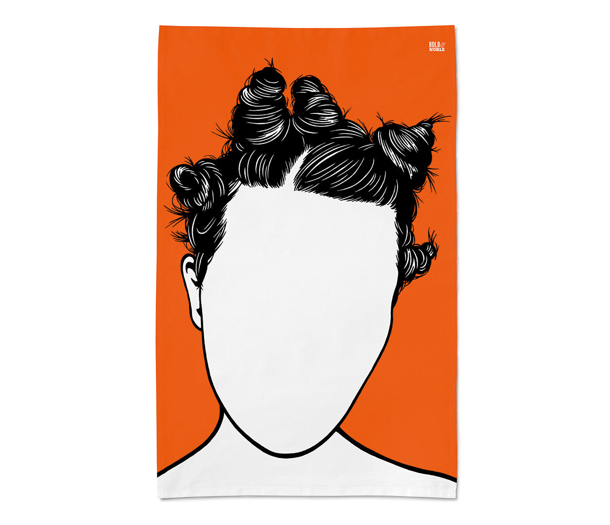 Bjork in orange tea towel