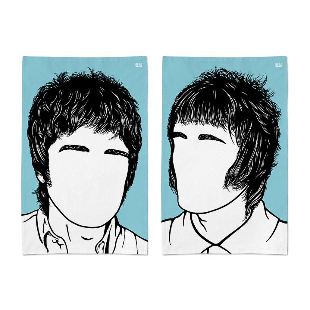 Oasis Liam and Noel Gallagher Tea Towel Set of 2 in blue