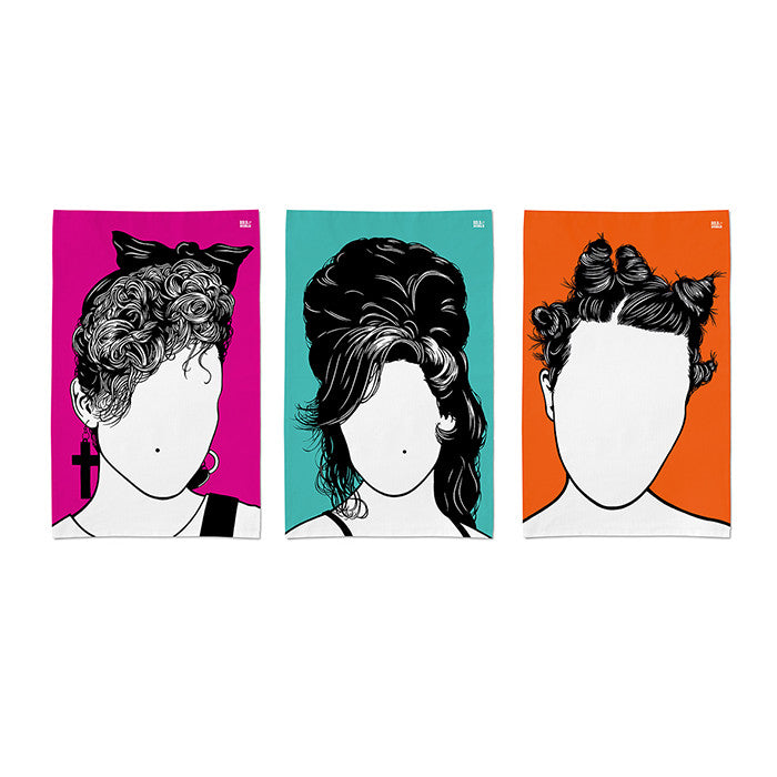 Set of 3 popstar tea towels, Madonna in pink, Amy in jade, Bjork in orange, delivered worldwide