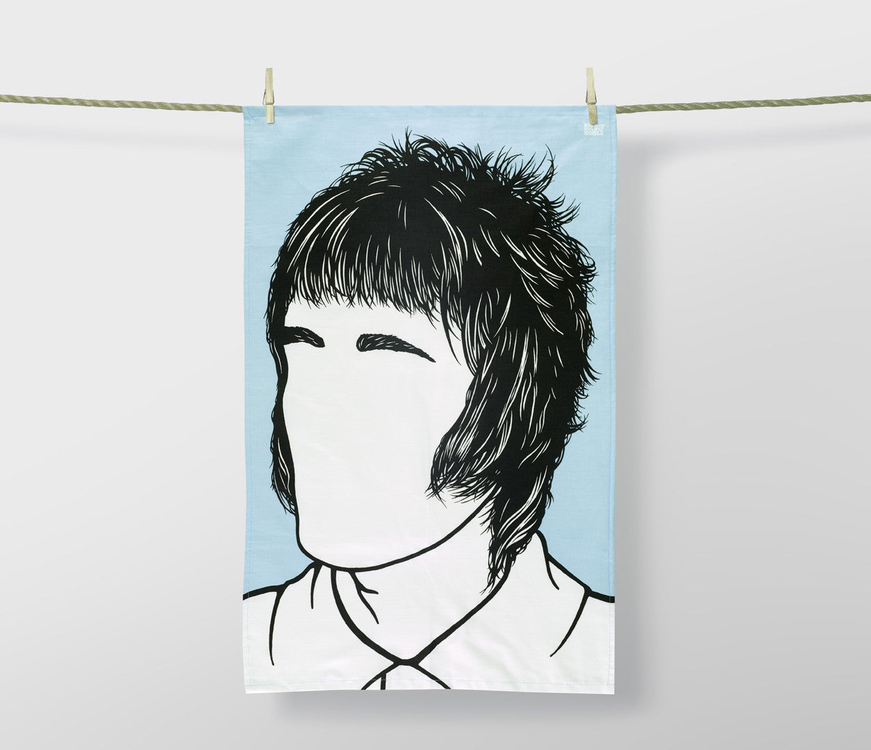 Liam Gallagher Oasis Tea Towel in blue