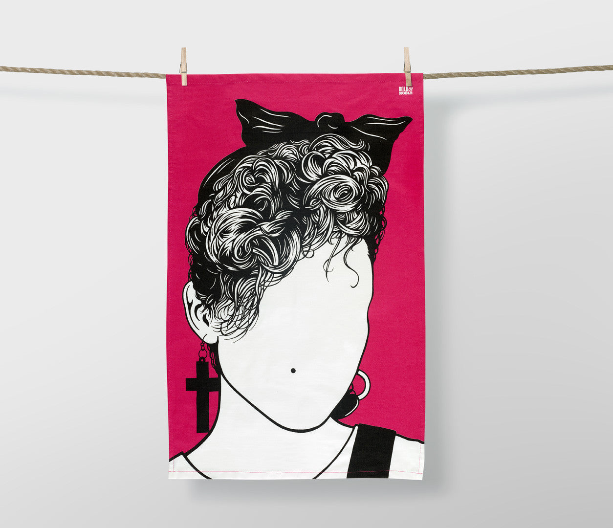 Madonna in pink tea towel