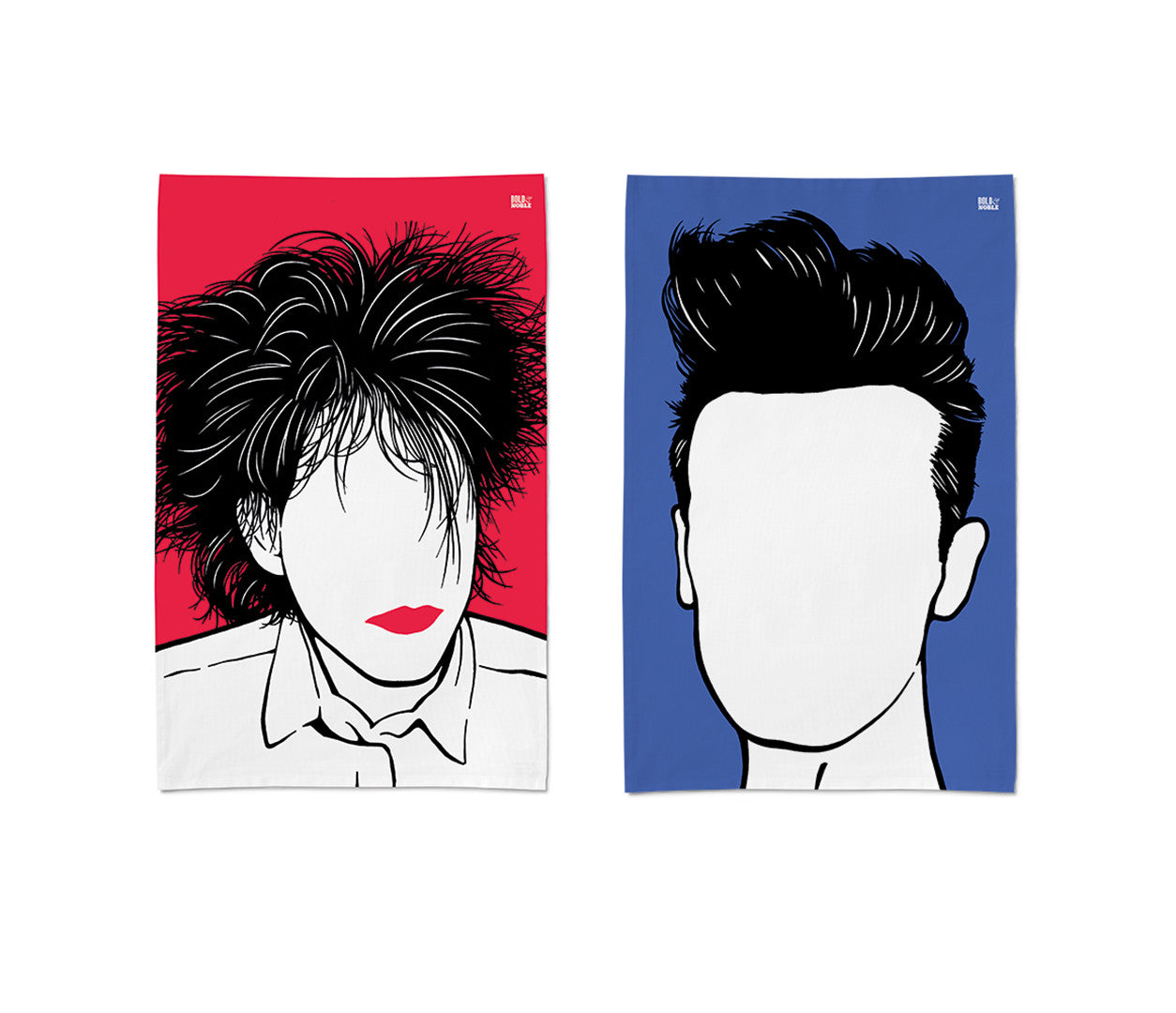 'Robert Smith and Morrissey' Tea Towel Set