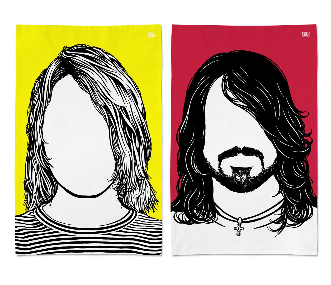 Kurt Curbain, Dave Grohl Tea Towel Designs, Rock Icon Tea Towels