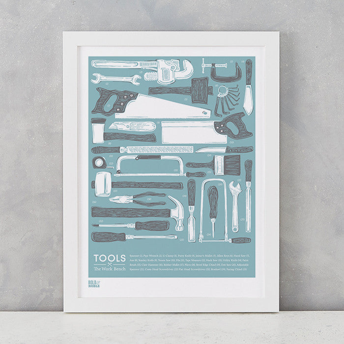 'Tools' The Work Bench Print in Coastal Blue