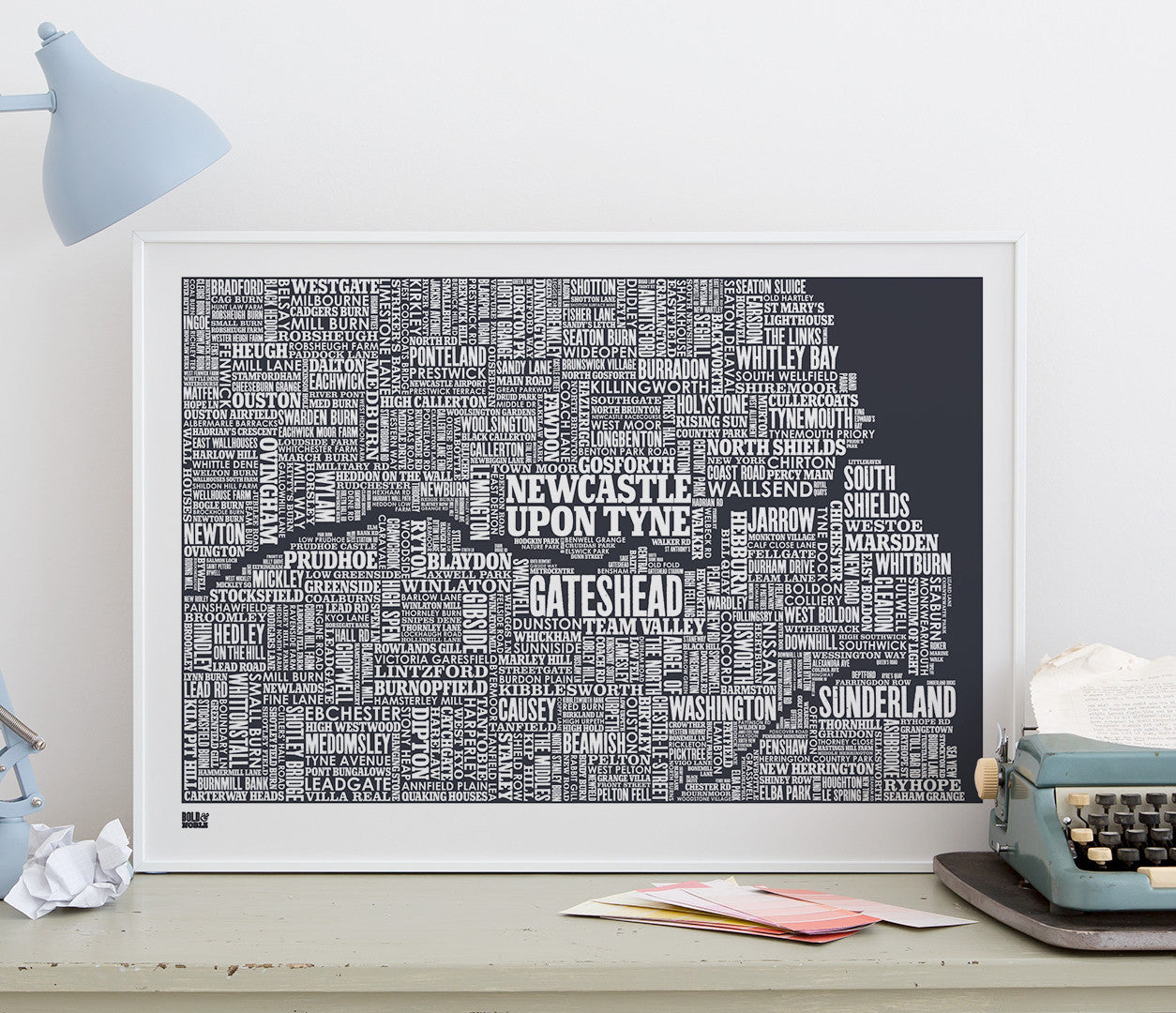'Tyne & Wear (and beyond)' Type Map Print in Sheer Slate