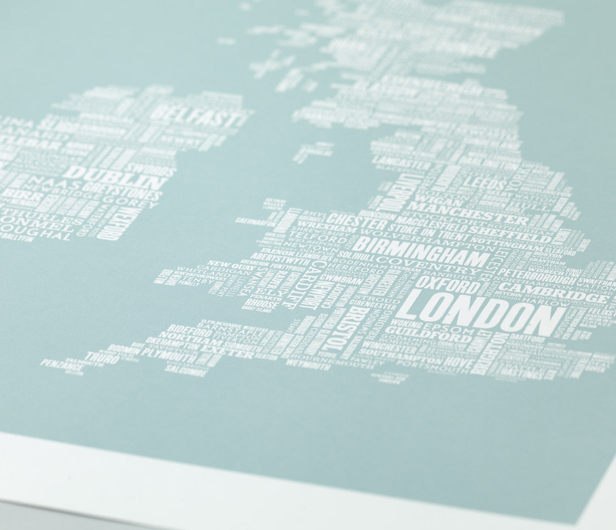 'UK and Ireland' Type Map Print in Duck Egg Blue