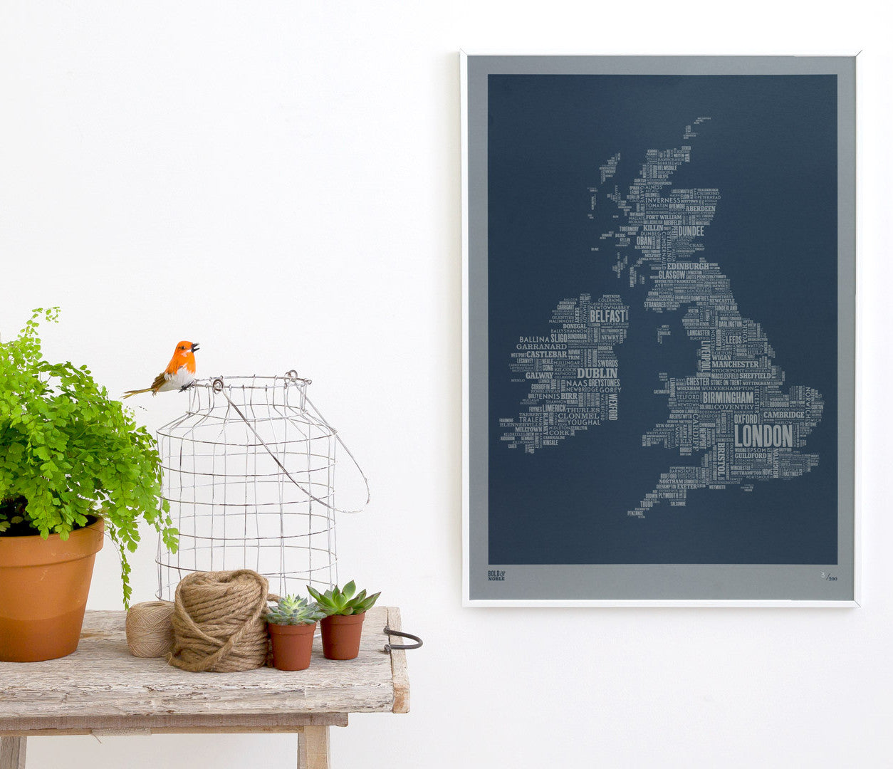 Map Of Uk And Ireland With Cities.Uk And Ireland Limited Edition Type Map Print On Grey Card