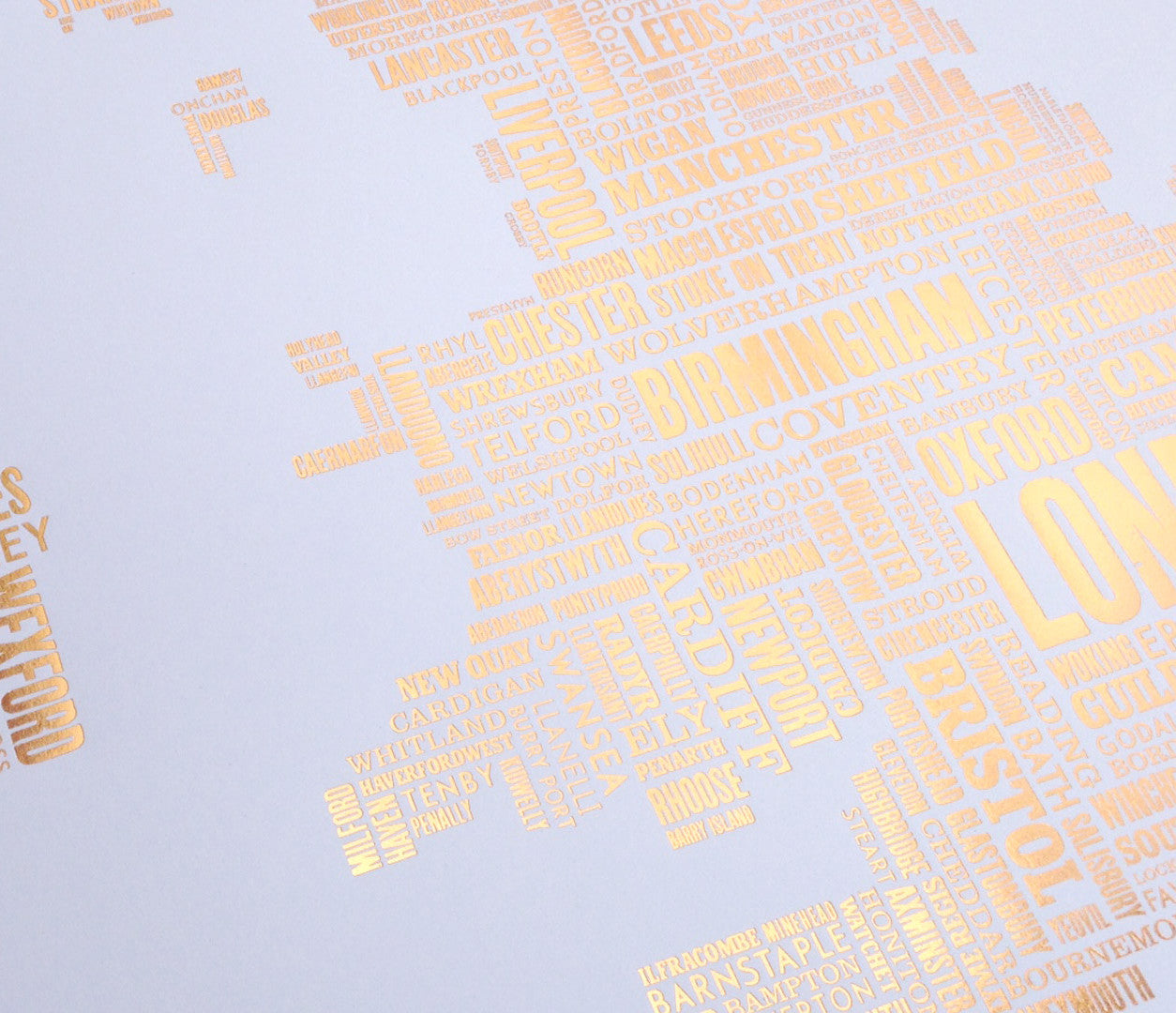 'UK and Ireland' Type Map Print, Limited Edition, Foil Blocked in Bronze